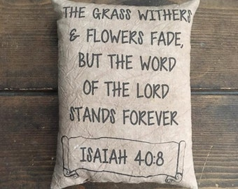 Isaiah 40:8 Bible and Jesus Lord Feedsack Pillow