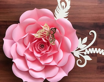 """Paper Flowers - SVG Petal #93 Rose Template- DIY Cricut and Silhouette machines ready-Center Bud included (19-21"""")"""