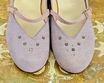 1950s Rhinestone Studded Lavender Mary Jane Flats Size 6