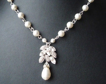 Crystal Leaves Bridal Necklace, Silver Leaf Wedding Necklace, Swarovski Pearl Wedding Jewelry, Pearl Leaf Bridal Necklace, EVA
