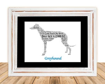 Greyhound, Greyhound art, Custom, Personalize, Pet Gift, Gifts Under 25, Dog Art, Pet Art, Pet Memorial, Custom Dog