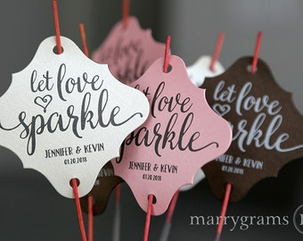 Sparkler Tags - Let Love Sparkle - Wedding Favor Tags Script Custom with Names & Date, Personalized For Sparklers (Set of 24 or 36) SS15