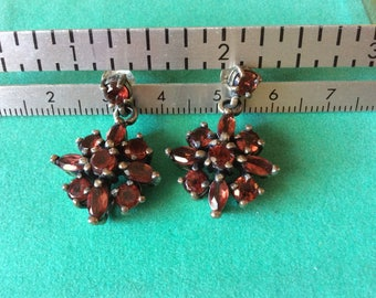 Sparkly Sterling Silver and Faceted Garnet Earrings