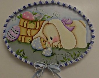 Easter bunny and chick placque