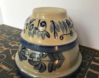Two Vintage Beaumont Brothers Pottery Salt Glazed Bowls, Farmhouse, Country Kitchen, Salt Glazed Pottery, BBP Pottery, Collectible Pottery