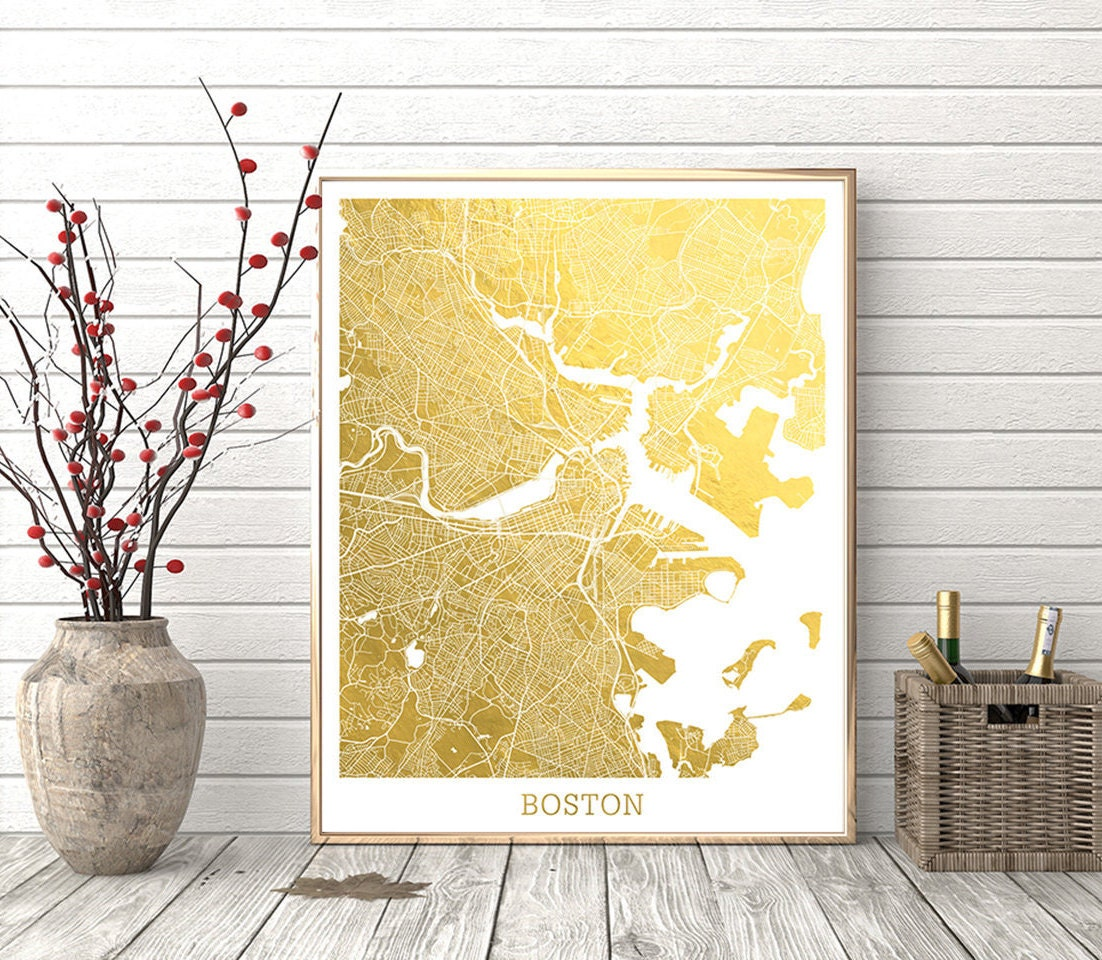 Boston Map Print Boston City Street Map Boston Massachusetts