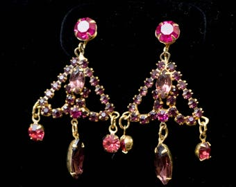 Vintage Signed Weiss Gypsy Chandelier Amethyst and Dark Rose Rhinestone Clip Earrings