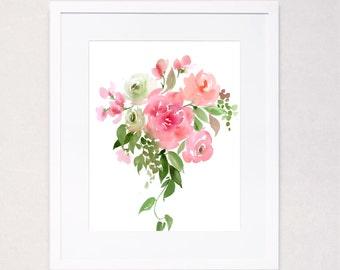 Spring Bouquet I Watercolor Art Print