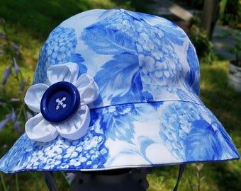 Blue Hydrangea Baby Hat Toddler Hat Sunhat