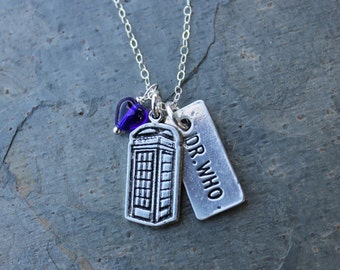 Dr Who Necklace - silver - DR WHO & Police Box  pewter charms, cobalt blue glass heart on sterling silver chain -Free Shipping USA