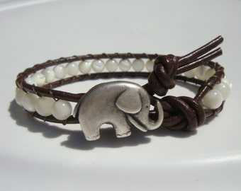 Shell Beaded Leather Bracelet with Elephant Button