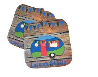 Camper, Glamper, Vintage Camper, Pot Holders, Hot Pads, Camping Decor, Love on Wheels