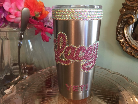 Rhinestone Yeti Rambler Tumbler 20 oz with Trim and Rhinestone Name in Script
