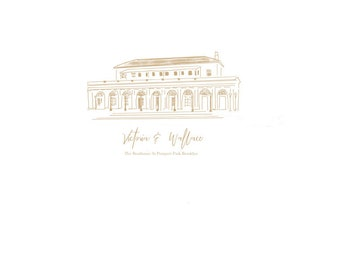 Wedding Venue Sketch,  Custom Wedding Sketch, Hand Drawn Wedding Invitations