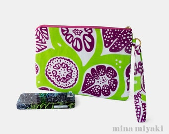 Frutti Print Zipper Wristlet with Water repellent lining, in Lime Green, White, Purple, Makeup, Clutch, Bag, gift for her, Clutch, Carry-all