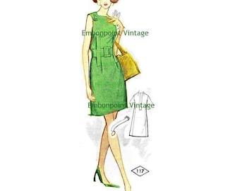 Plus Size (or any size) Vintage 1969 Cocktail Dress Pattern - PDF - Pattern No 117 Bernice