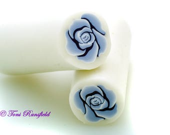 Powder Blue Rose Polymer Clay Cane, Raw polymer Clay Cane, Millefiori Polymer Clay