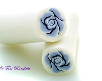 Powder Blue Rose Polymer Clay Cane, Raw polymer Clay Cane, Millefiori Polymer Clay