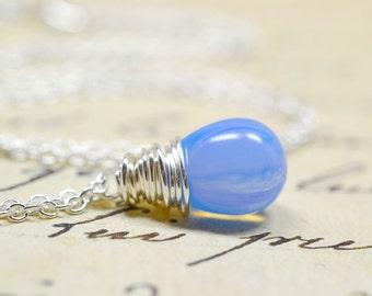 Periwinkle Blue Necklace, Serenity Dusk Blue Opal, Cornflower Twilight Jewelry, Denim Silver Wire Wrap Jewelry