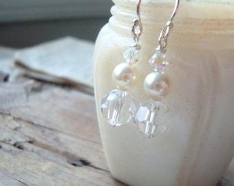 Bridal Earrings White Swarovski Crystal and Pearl Bridal Jewelry June Birthstone Shabby Chic Wedding Jewelry Weddings Gifts Under 40
