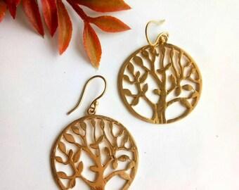 Drop Earrings, tree design , Brass Earrings, Dangle Earrings, Nature Inspired, Brass Jewelry, Boho style, Brass Earrings, Handmade.