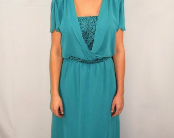 Vintage 70's Disco Club Wear Turquoise Green Glitter Cocktail Dress - Size 12