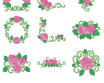 Rose Embroidery Design Zip File Download