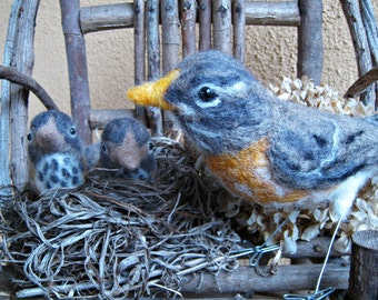 Mrs. American Robin and her babies, needle felted birds