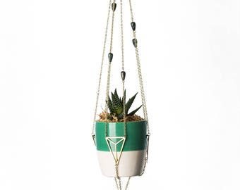 Triangle Brass Plant Hanger with Green Patina Bird Charm and beads - For Small Plants