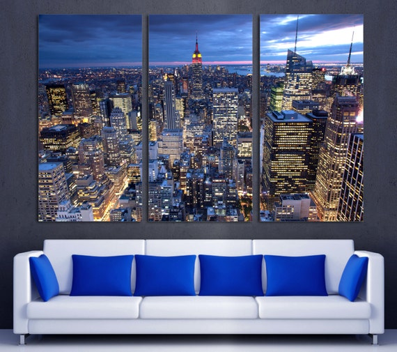 High Lights Of New York Skyline Canvas Wall Art: New York City Evening Skyline Canvas Print. NYC Aerial View. 3