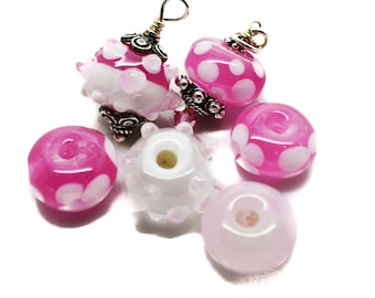 Handmade Lampwork Beads - Set of 6 beads Pink and White 12-13mm