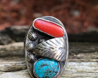 Vintage Old Pawn Sterling Silver Coral & Turquoise Ring SZ 8.5