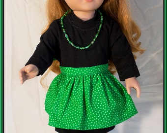 "American made Girl Doll Clothes, St Patrick's Day Little Black & Green Dress Fits American Girl, Madame Alexander, Journey Girls n 18"" Dolls"