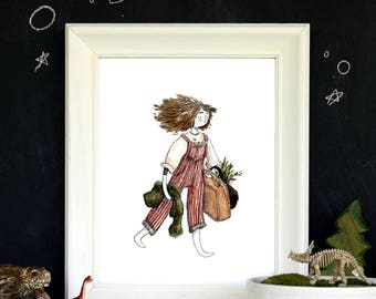 "Little Explorer - Later Skater - Wanderer - 8""x10"" Watercolor Art Print"
