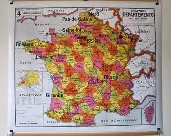 Reproduction of old school map N 4 France departments by Vidal Lablache