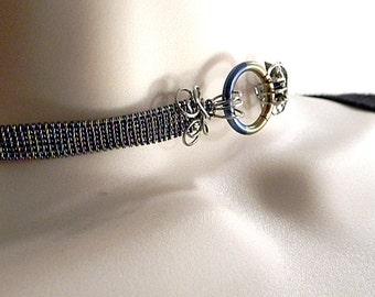 Made To Order -Hand Woven Rainbow Anodized Niobium & Stainless Steel Slave Collar with Rainbow Titanium Captive Segment Clasp