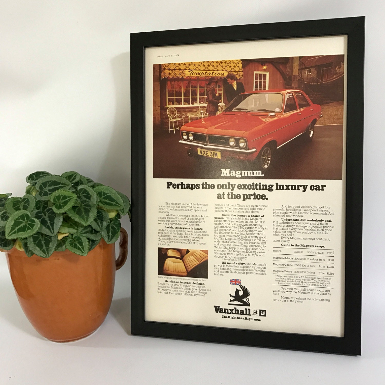 Vintage Vauxhall Magnum Poster Old Fashioned Car Advert A4