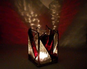 Red And Clear Stained Glass Candle Holder