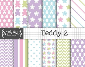 Teddy Bear Digital Paper Pack, Baby Scrapbooking Paper, Baby Shower, New Baby, Instant Download, Commercial Use