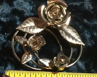 Silvertone Flower Rose Brooch