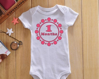 Month onesies- month to month onesies- monthly onesies-milestone onesies-baby shower gift-Colors can be customized for gender needs