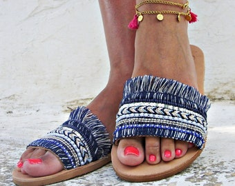 Blue ocean'  high quality  leather sandals