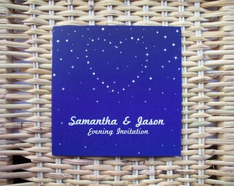 25 Personalised Starry Night Flat Card Evening Wedding Invitations Free P&P + Envelopes