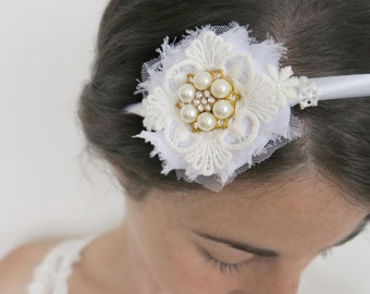 Wedding headband, lace headpiece, Chiffon flower, acrylic pearls, White Vintage Boho style wedding hair accessories.