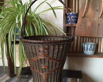 Antique Japanese IKEBANA Handwoven Bamboo Basket SIGNED