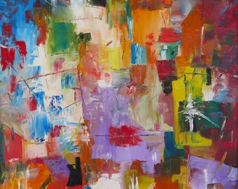 Portrait Abstract Painting Oil on Canvas Fine Art Color Original Art Framed