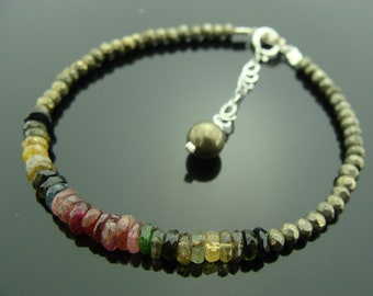 Watermelon Tourmaline and Pyrite 14K Gold Filled Bracelet