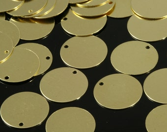 50 Pcs Raw Brass 16 mm Circle tag Charms ,Findings 64R-40
