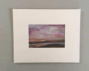 Purple Beach Watercolor Painting on Watercolor Paper- 4 x 6 - Matted to 8 x 10 - Ready to Place in 8 x 10 Standard Frame