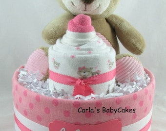 Baby diaper cake | Baby shower gift | Baby sprinkle gift | Baby shower decoration | Teddy bear diaper cake | Girl baby shower centerpiece